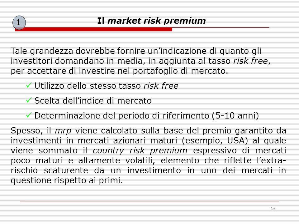 16 Tale grandezza dovrebbe fornire unindicazione di quanto gli investitori domandano in media, in aggiunta al tasso risk free, per accettare di invest