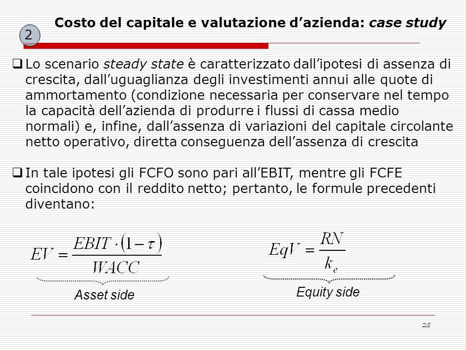 28 Lo scenario steady state è caratterizzato dallipotesi di assenza di crescita, dalluguaglianza degli investimenti annui alle quote di ammortamento (