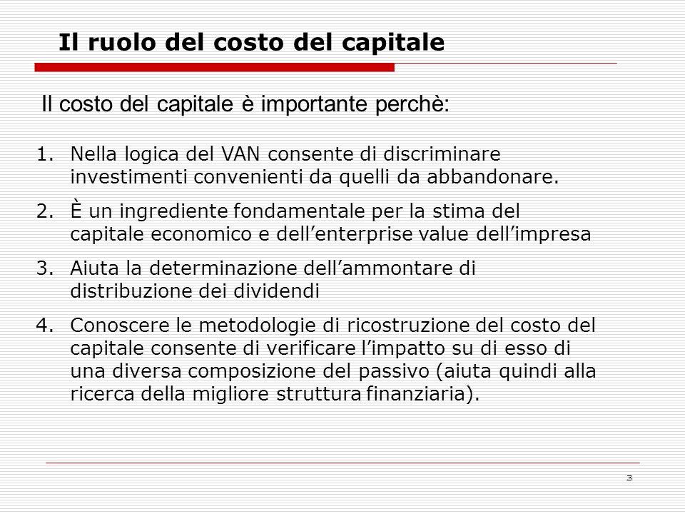 3 1.Nella logica del VAN consente di discriminare investimenti convenienti da quelli da abbandonare. 2.È un ingrediente fondamentale per la stima del