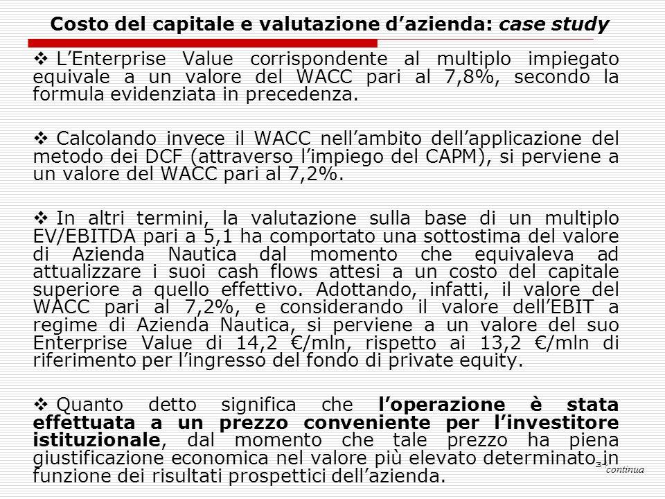 34 LEnterprise Value corrispondente al multiplo impiegato equivale a un valore del WACC pari al 7,8%, secondo la formula evidenziata in precedenza. Ca