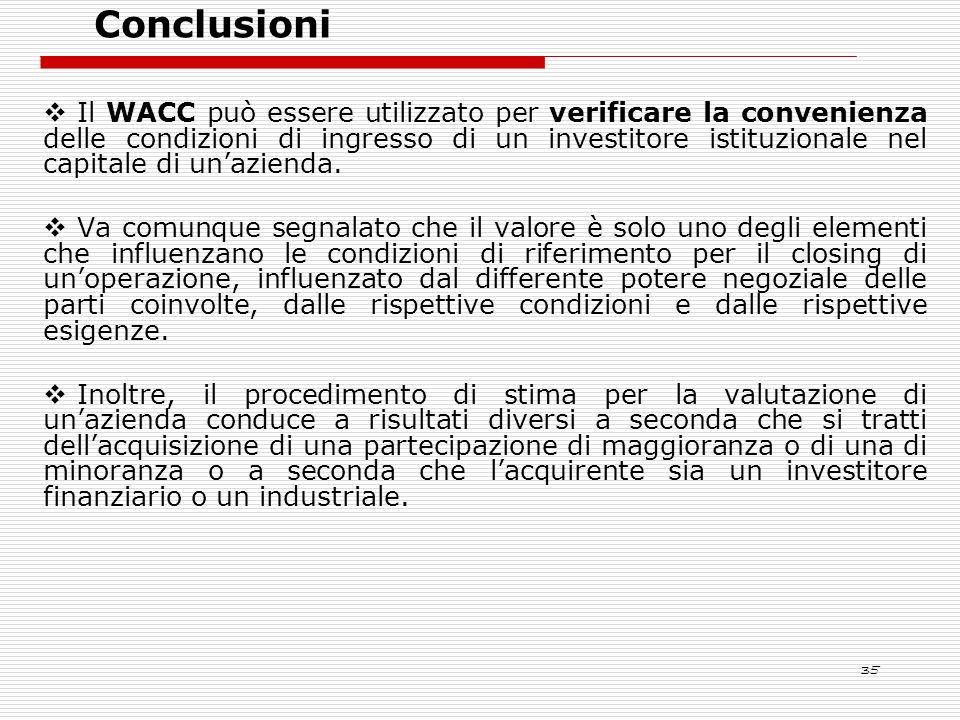 35 Il WACC può essere utilizzato per verificare la convenienza delle condizioni di ingresso di un investitore istituzionale nel capitale di unazienda.