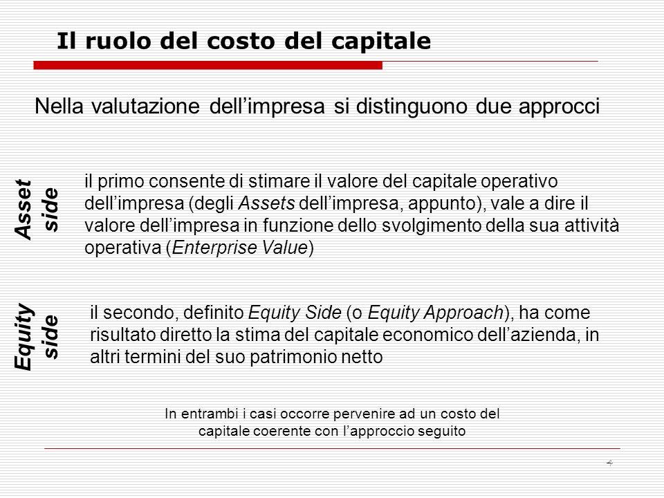 4 Il ruolo del costo del capitale Nella valutazione dellimpresa si distinguono due approcci il primo consente di stimare il valore del capitale operat