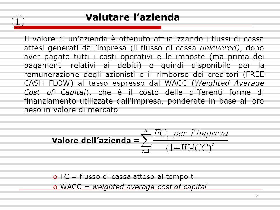 7 Il valore di unazienda è ottenuto attualizzando i flussi di cassa attesi generati dallimpresa (il flusso di cassa unlevered), dopo aver pagato tutti