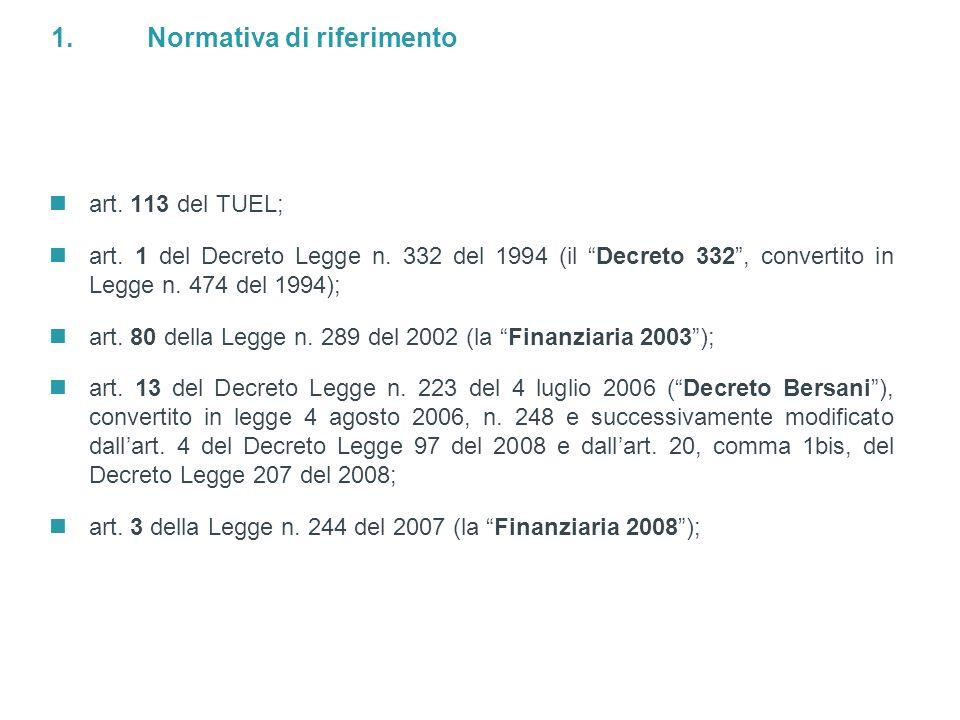 3 / Doc ID: L_LIVE_EMEA2:3078832v1 © Simmons & Simmons 2008 1.Normativa di riferimento art. 113 del TUEL; art. 1 del Decreto Legge n. 332 del 1994 (il