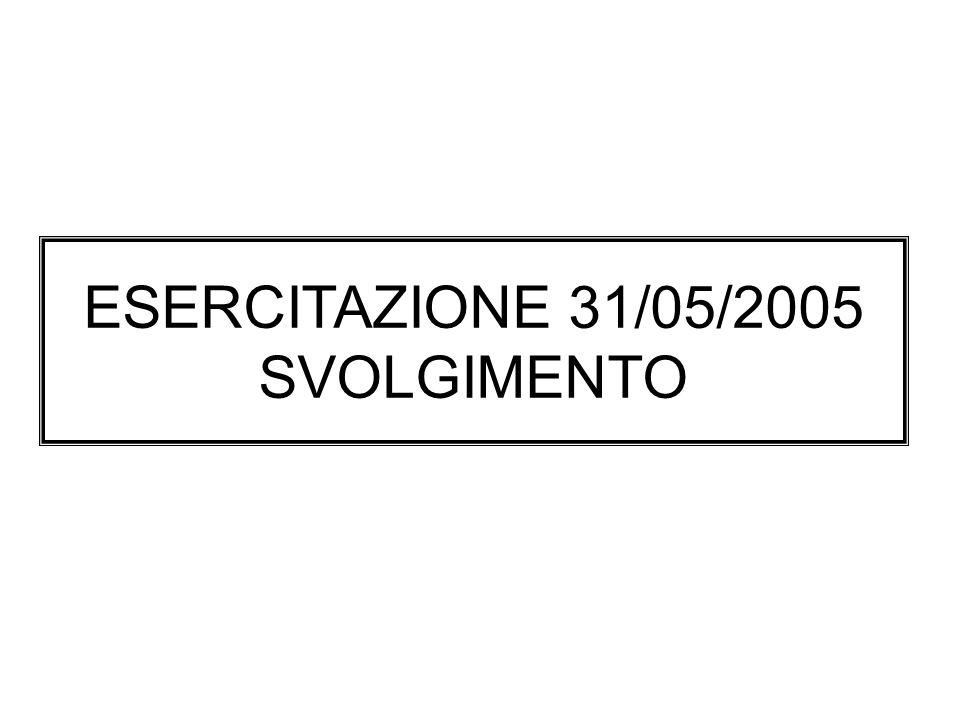 ESERCITAZIONE 31/05/2005 SVOLGIMENTO
