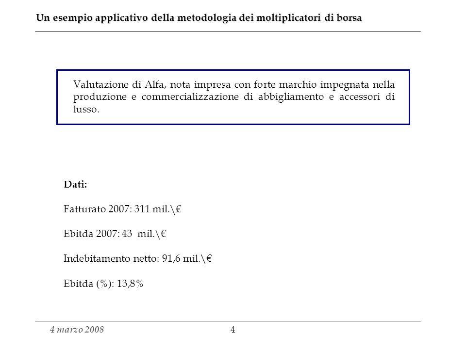 4 marzo 2008 4 Un esempio applicativo della metodologia dei moltiplicatori di borsa Valutazione di Alfa, nota impresa con forte marchio impegnata nella produzione e commercializzazione di abbigliamento e accessori di lusso.