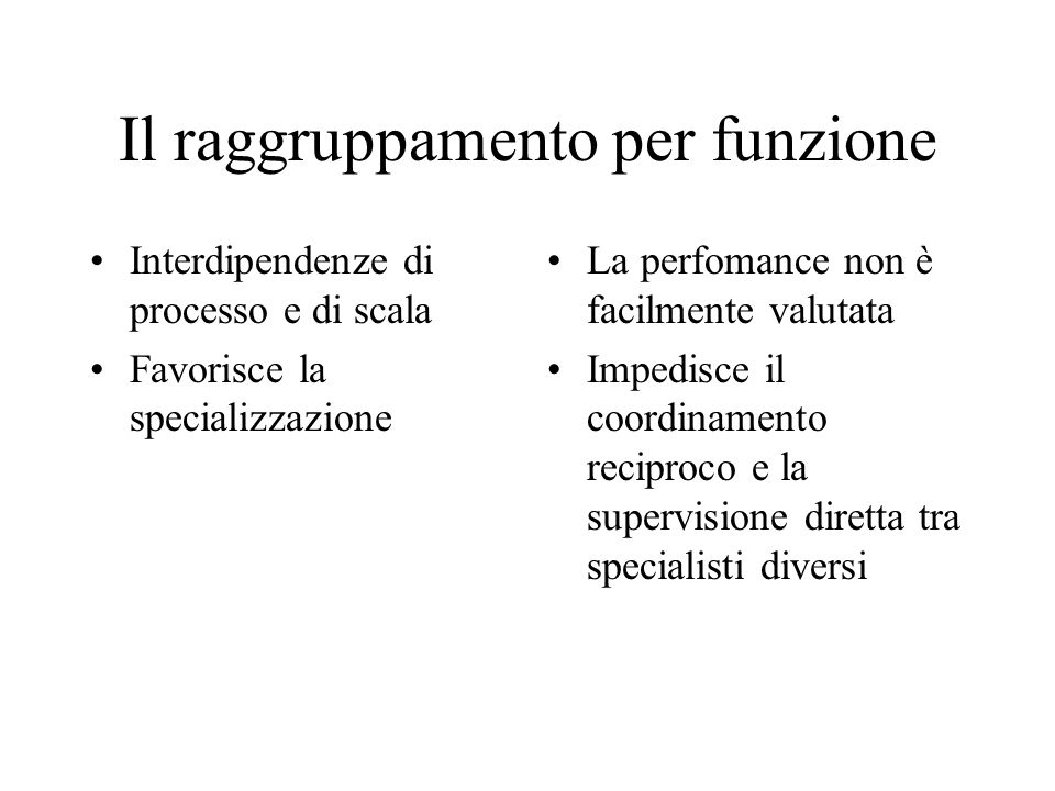 Il raggruppamento per funzione Interdipendenze di processo e di scala Favorisce la specializzazione La perfomance non è facilmente valutata Impedisce