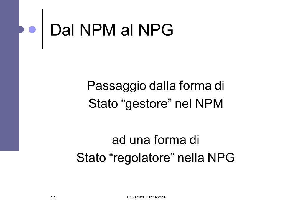 Università Parthenope 11 Dal NPM al NPG Passaggio dalla forma di Stato gestore nel NPM ad una forma di Stato regolatore nella NPG