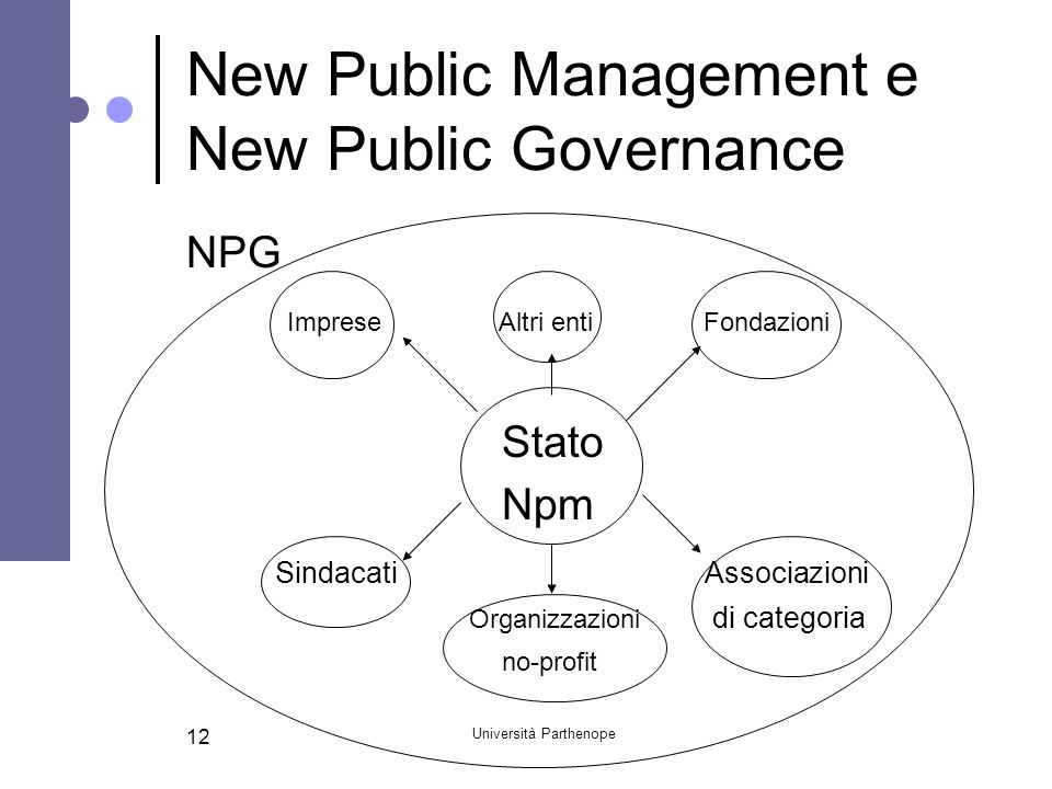 Università Parthenope 12 New Public Management e New Public Governance NPG Imprese Altri enti Fondazioni Stato Npm Sindacati Associazioni Organizzazio