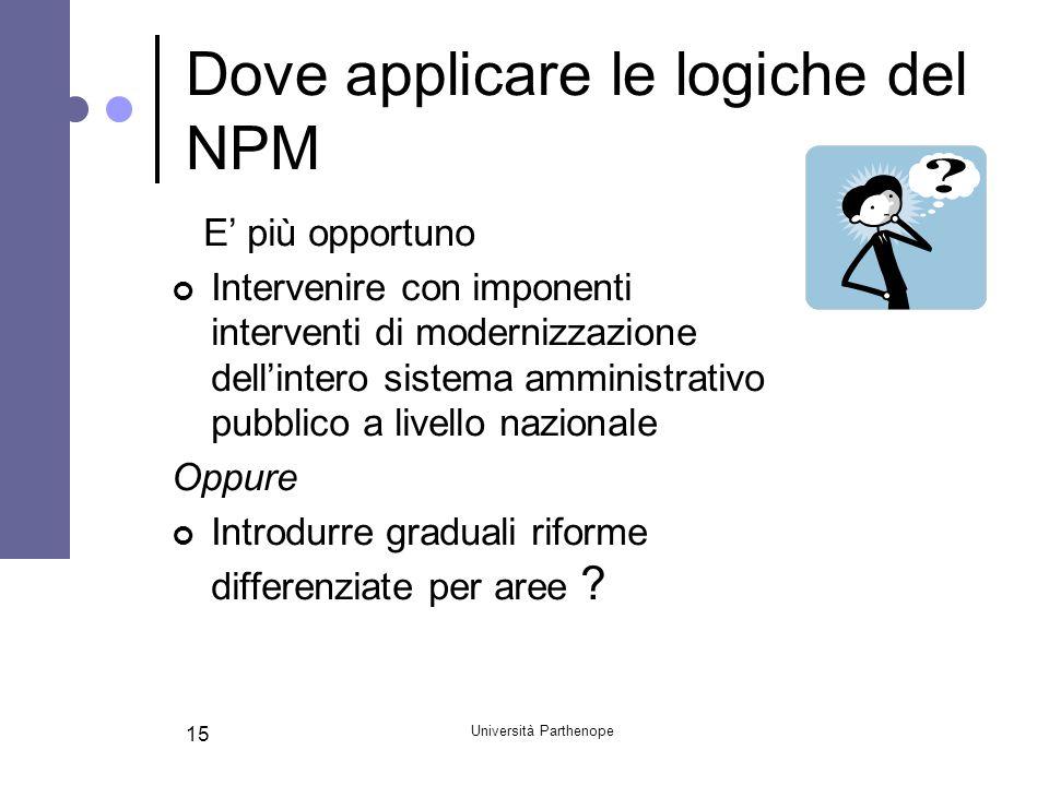 Università Parthenope 15 Dove applicare le logiche del NPM E più opportuno Intervenire con imponenti interventi di modernizzazione dellintero sistema