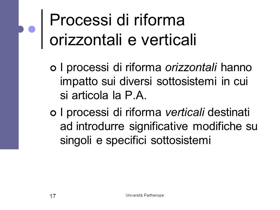 Università Parthenope 17 Processi di riforma orizzontali e verticali I processi di riforma orizzontali hanno impatto sui diversi sottosistemi in cui s