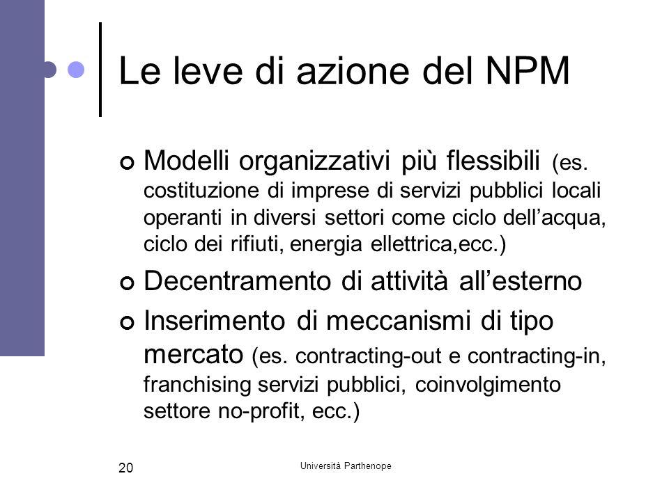 Università Parthenope 20 Le leve di azione del NPM Modelli organizzativi più flessibili (es. costituzione di imprese di servizi pubblici locali operan