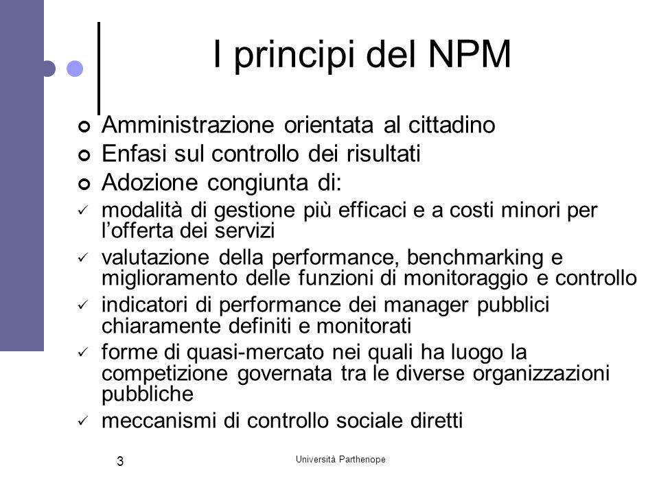 Università Parthenope 14 Il NPG in Italia Anche in Italia il NPM si sta evolvendo verso logiche di public governance, attraverso: La creazione delle istituzioni per un intervento pubblico più flessibile e per il partenariato con il terzo settore; I patti territoriali per lo sviluppo delle aree locali del Mezzogiorno
