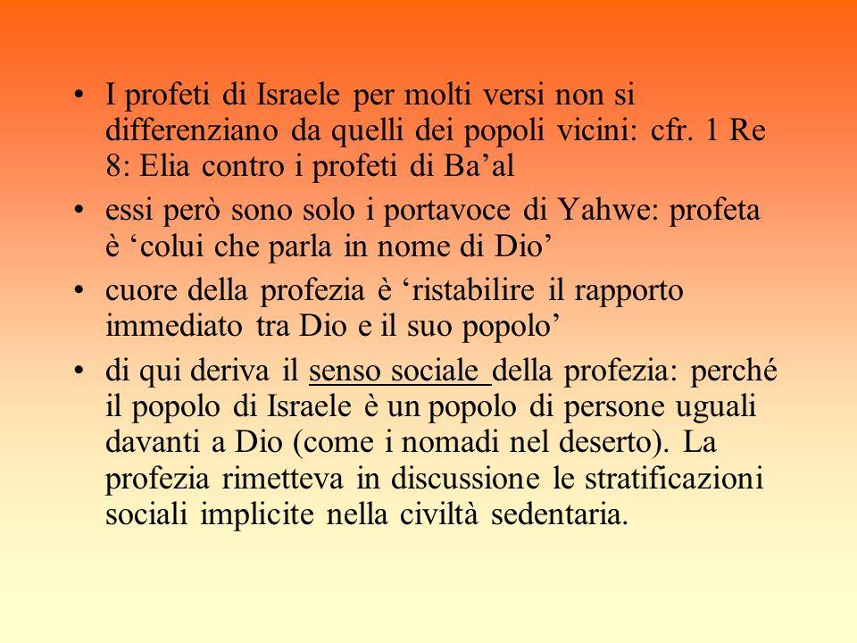 I profeti di Israele per molti versi non si differenziano da quelli dei popoli vicini: cfr. 1 Re 8: Elia contro i profeti di Baal essi però sono solo