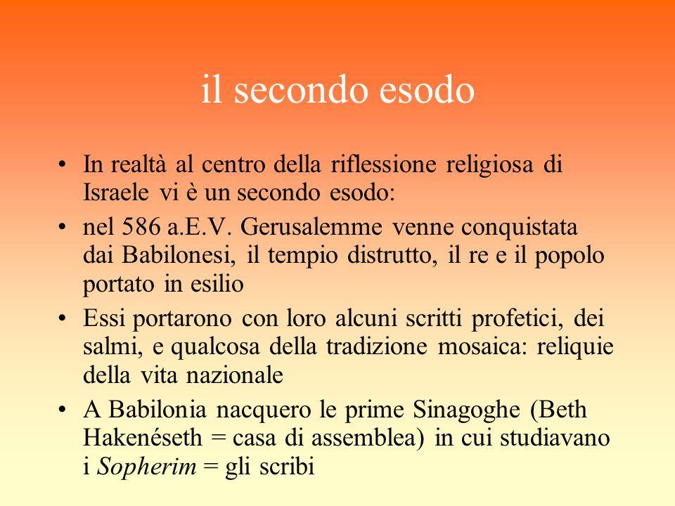 il secondo esodo In realtà al centro della riflessione religiosa di Israele vi è un secondo esodo: nel 586 a.E.V. Gerusalemme venne conquistata dai Ba