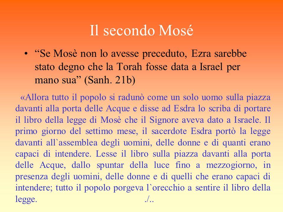 Il secondo Mosé Se Mosè non lo avesse preceduto, Ezra sarebbe stato degno che la Torah fosse data a Israel per mano sua (Sanh. 21b) «Allora tutto il p