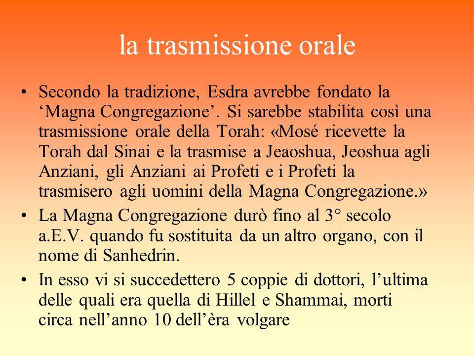 la trasmissione orale Secondo la tradizione, Esdra avrebbe fondato la Magna Congregazione. Si sarebbe stabilita così una trasmissione orale della Tora