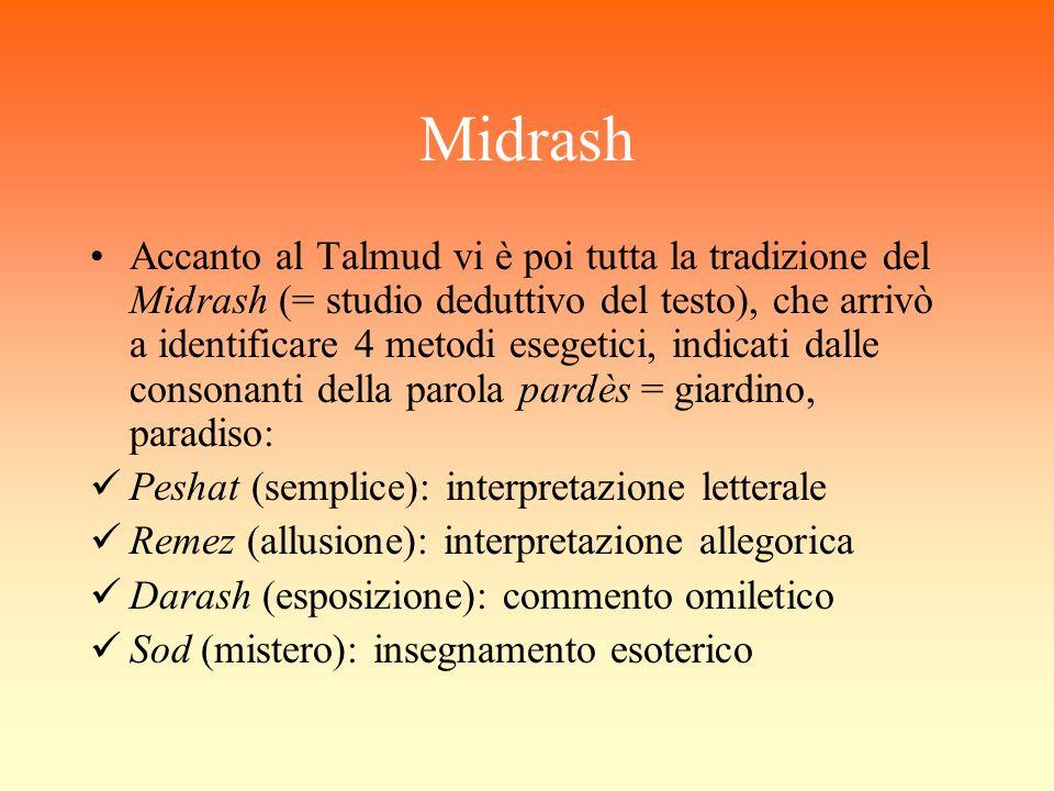 Midrash Accanto al Talmud vi è poi tutta la tradizione del Midrash (= studio deduttivo del testo), che arrivò a identificare 4 metodi esegetici, indic