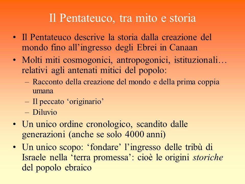 Il Pentateuco, tra mito e storia Il Pentateuco descrive la storia dalla creazione del mondo fino allingresso degli Ebrei in Canaan Molti miti cosmogon