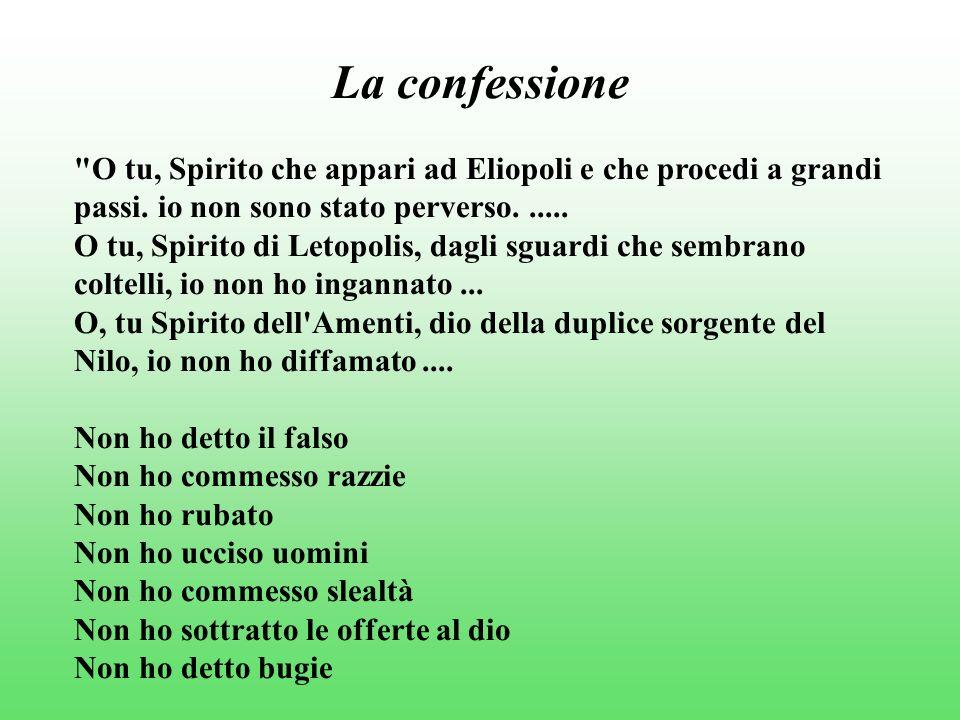 La confessione O tu, Spirito che appari ad Eliopoli e che procedi a grandi passi.