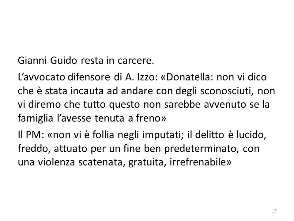 Gianni Guido resta in carcere. Lavvocato difensore di A. Izzo: «Donatella: non vi dico che è stata incauta ad andare con degli sconosciuti, non vi dir