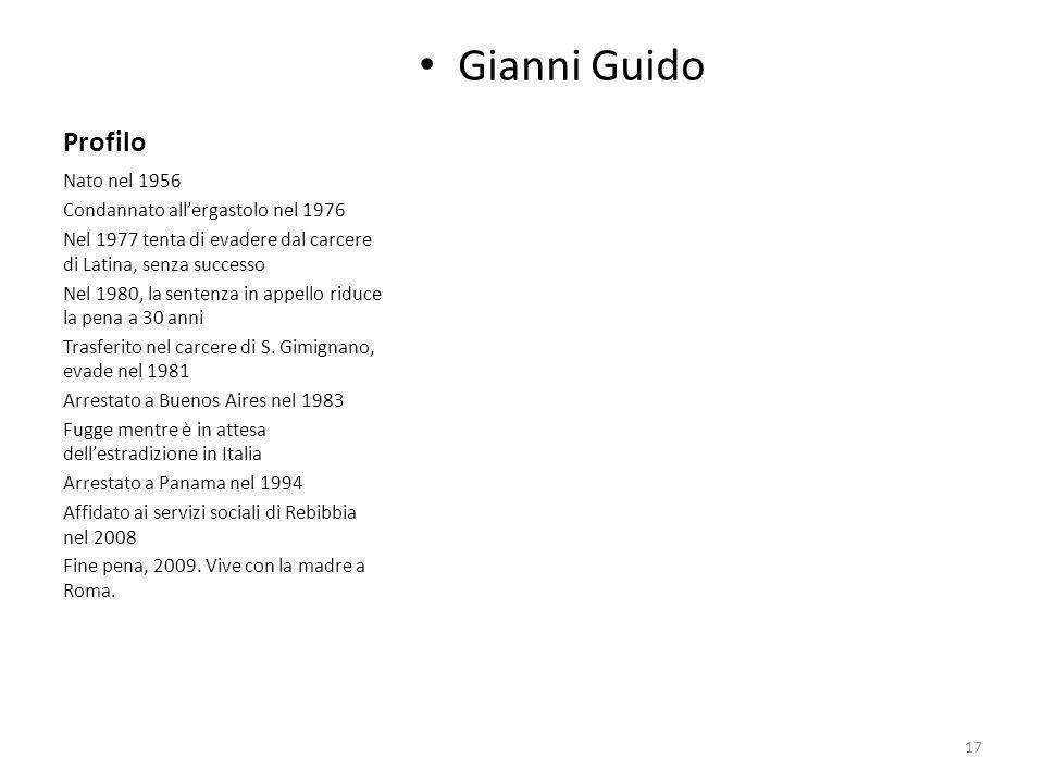 Profilo Gianni Guido Nato nel 1956 Condannato allergastolo nel 1976 Nel 1977 tenta di evadere dal carcere di Latina, senza successo Nel 1980, la sente