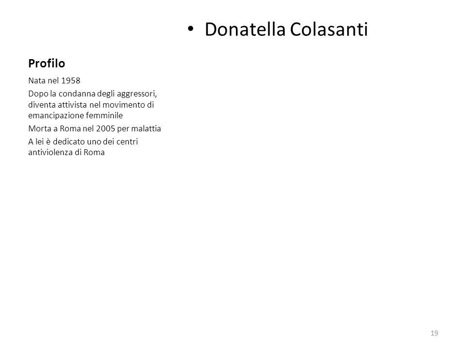 Profilo Donatella Colasanti Nata nel 1958 Dopo la condanna degli aggressori, diventa attivista nel movimento di emancipazione femminile Morta a Roma n