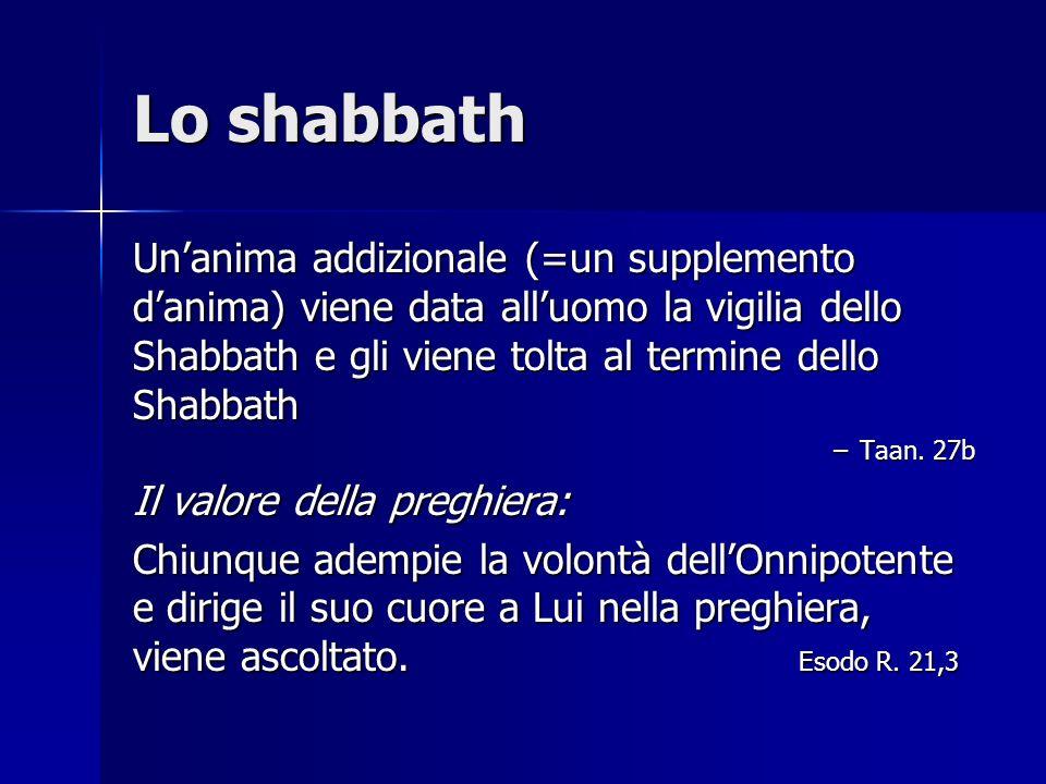 Lo shabbath Unanima addizionale (=un supplemento danima) viene data alluomo la vigilia dello Shabbath e gli viene tolta al termine dello Shabbath –Taa