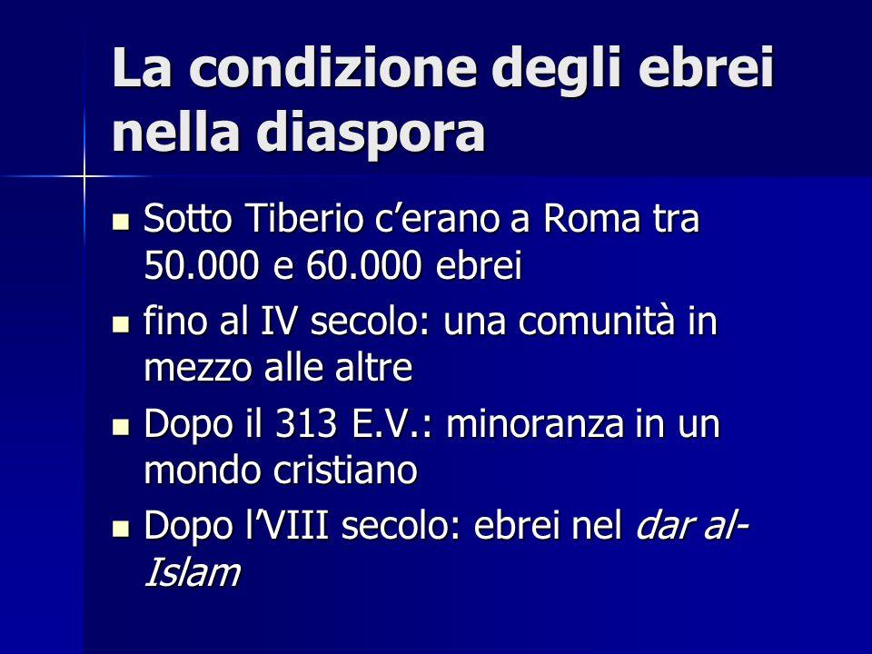 La condizione degli ebrei nella diaspora Sotto Tiberio cerano a Roma tra 50.000 e 60.000 ebrei Sotto Tiberio cerano a Roma tra 50.000 e 60.000 ebrei f