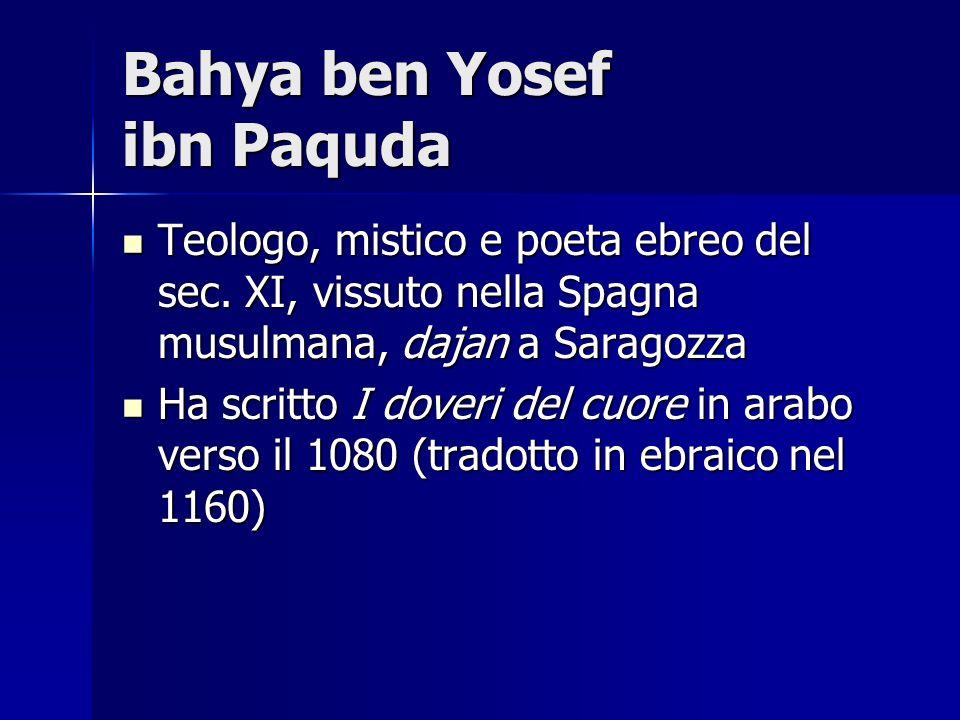Bahya ben Yosef ibn Paquda Teologo, mistico e poeta ebreo del sec. XI, vissuto nella Spagna musulmana, dajan a Saragozza Teologo, mistico e poeta ebre