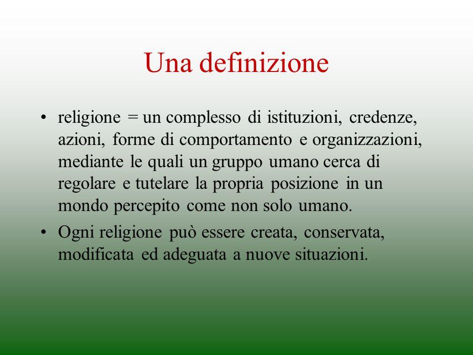 Una definizione religione = un complesso di istituzioni, credenze, azioni, forme di comportamento e organizzazioni, mediante le quali un gruppo umano