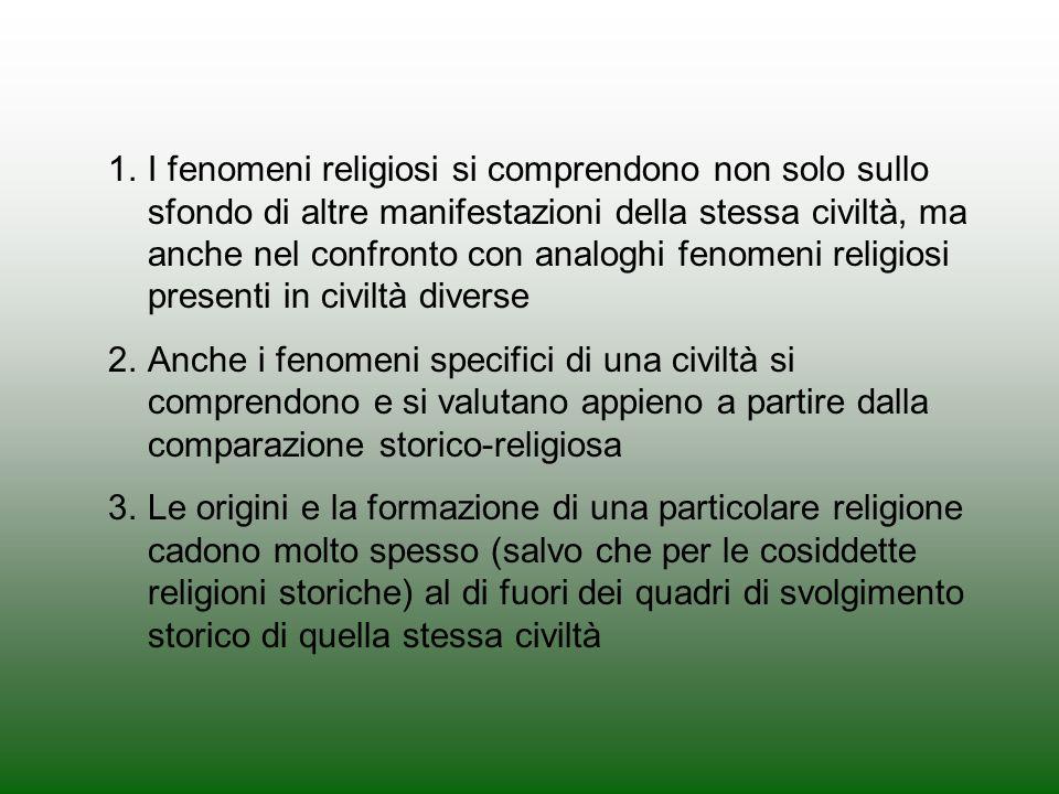 1.I fenomeni religiosi si comprendono non solo sullo sfondo di altre manifestazioni della stessa civiltà, ma anche nel confronto con analoghi fenomeni