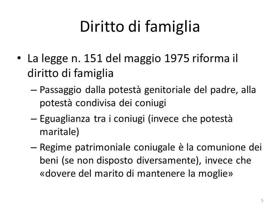 Diritto di famiglia La legge n. 151 del maggio 1975 riforma il diritto di famiglia – Passaggio dalla potestà genitoriale del padre, alla potestà condi