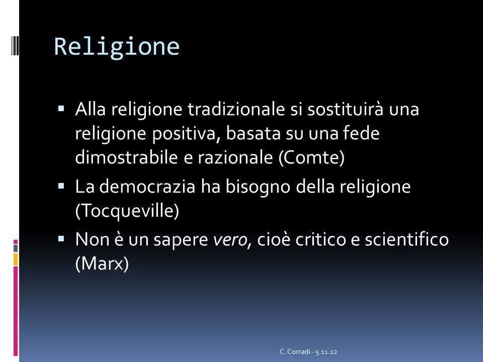 Religione Alla religione tradizionale si sostituirà una religione positiva, basata su una fede dimostrabile e razionale (Comte) La democrazia ha bisog