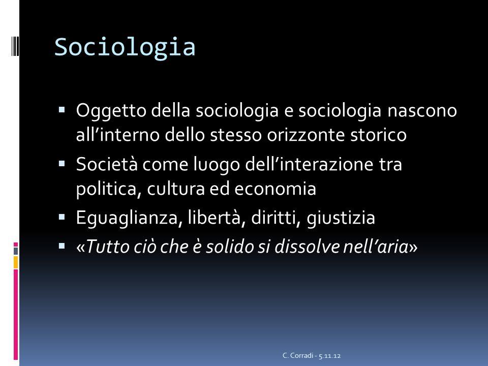 Sociologia Oggetto della sociologia e sociologia nascono allinterno dello stesso orizzonte storico Società come luogo dellinterazione tra politica, cu