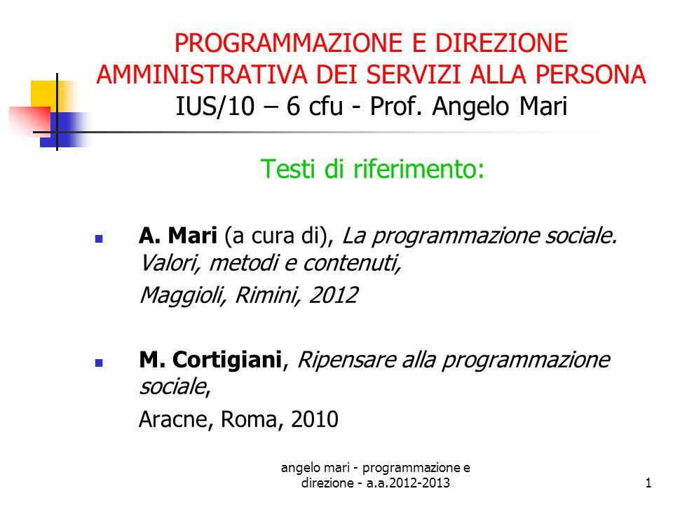 angelo mari - programmazione e direzione - a.a.2012-20131 PROGRAMMAZIONE E DIREZIONE AMMINISTRATIVA DEI SERVIZI ALLA PERSONA IUS/10 – 6 cfu - Prof. An