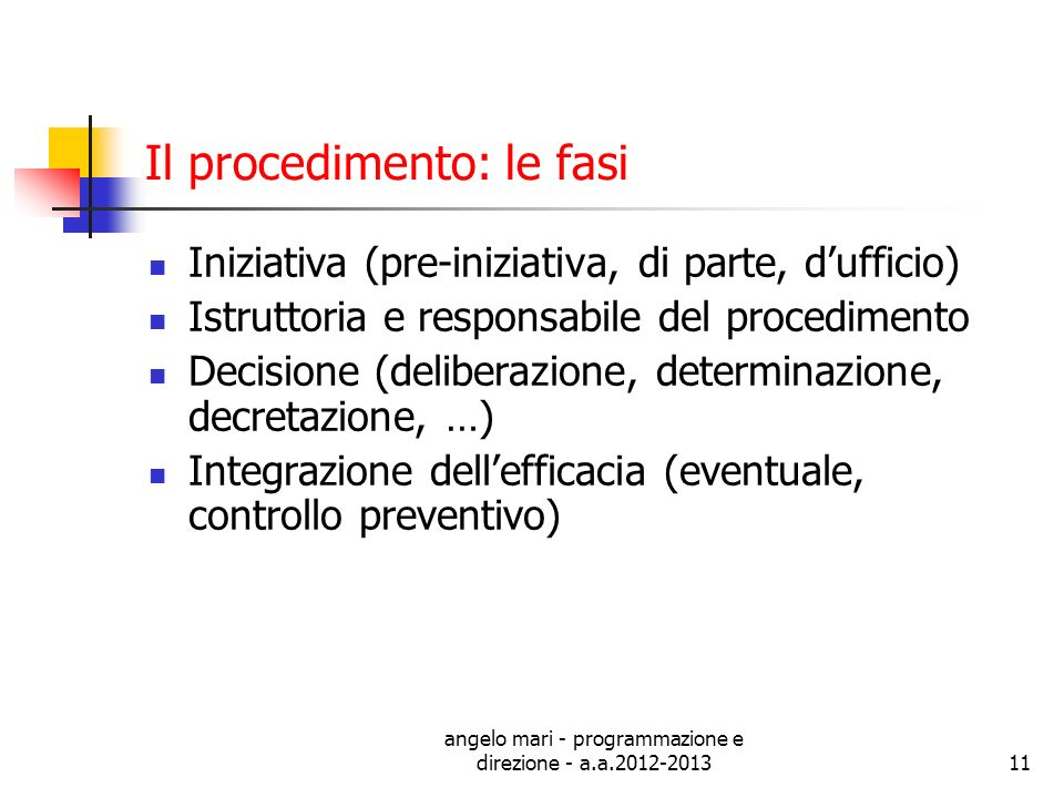 angelo mari - programmazione e direzione - a.a.2012-201311 Il procedimento: le fasi Iniziativa (pre-iniziativa, di parte, dufficio) Istruttoria e resp