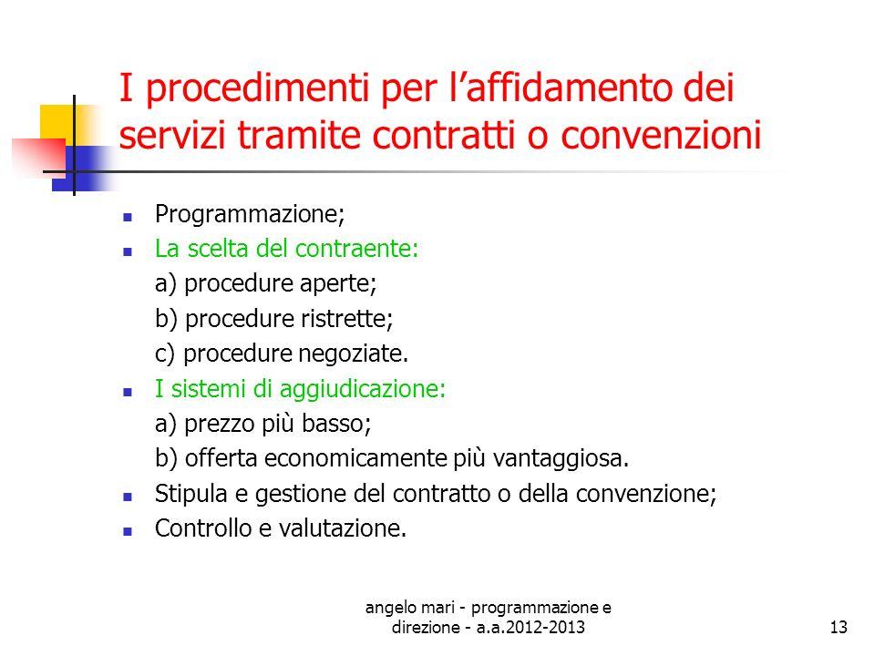angelo mari - programmazione e direzione - a.a.2012-201313 I procedimenti per laffidamento dei servizi tramite contratti o convenzioni Programmazione;