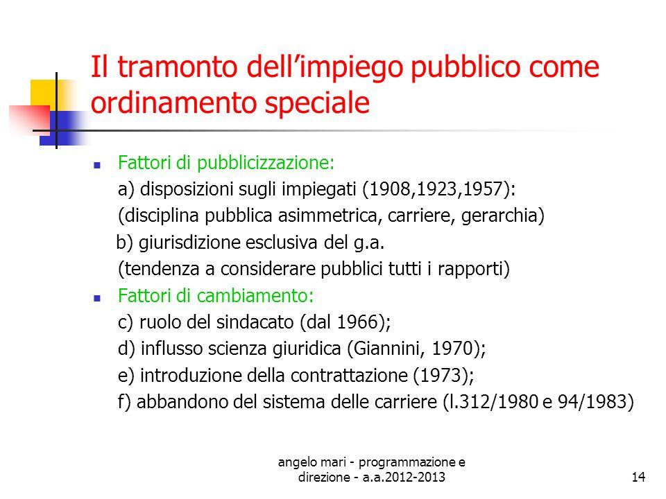 angelo mari - programmazione e direzione - a.a.2012-201314 Il tramonto dellimpiego pubblico come ordinamento speciale Fattori di pubblicizzazione: a)