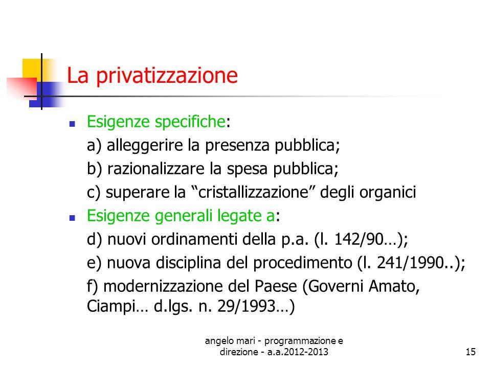 angelo mari - programmazione e direzione - a.a.2012-201315 La privatizzazione Esigenze specifiche: a) alleggerire la presenza pubblica; b) razionalizz