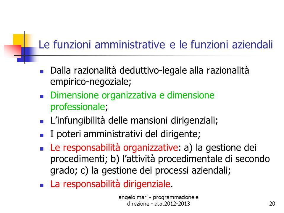 angelo mari - programmazione e direzione - a.a.2012-201320 Le funzioni amministrative e le funzioni aziendali Dalla razionalità deduttivo-legale alla