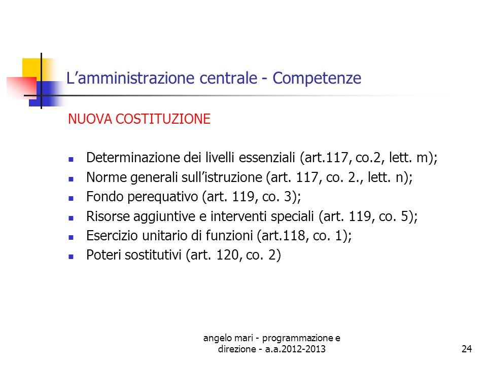 angelo mari - programmazione e direzione - a.a.2012-201324 Lamministrazione centrale - Competenze NUOVA COSTITUZIONE Determinazione dei livelli essenz