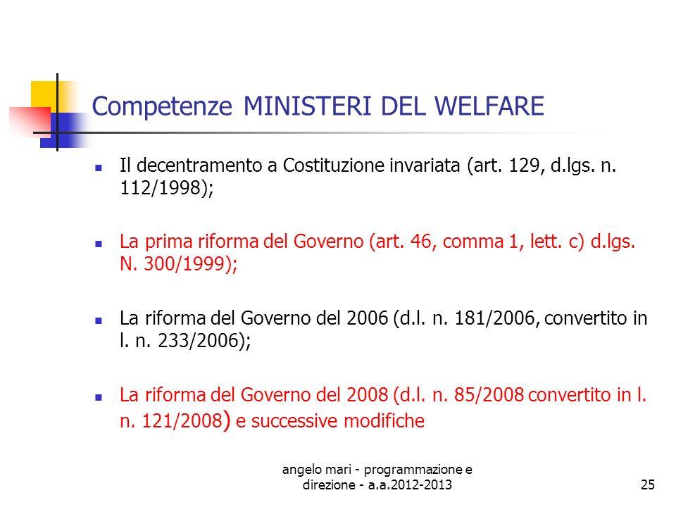 angelo mari - programmazione e direzione - a.a.2012-201325 Competenze MINISTERI DEL WELFARE Il decentramento a Costituzione invariata (art. 129, d.lgs