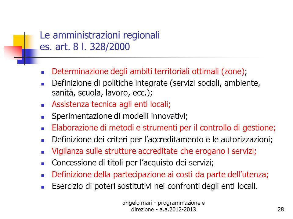 angelo mari - programmazione e direzione - a.a.2012-201328 Le amministrazioni regionali es. art. 8 l. 328/2000 Determinazione degli ambiti territorial