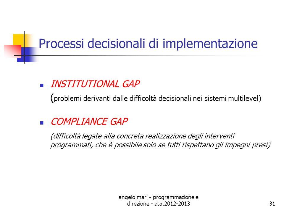 angelo mari - programmazione e direzione - a.a.2012-201331 Processi decisionali di implementazione INSTITUTIONAL GAP ( problemi derivanti dalle diffic