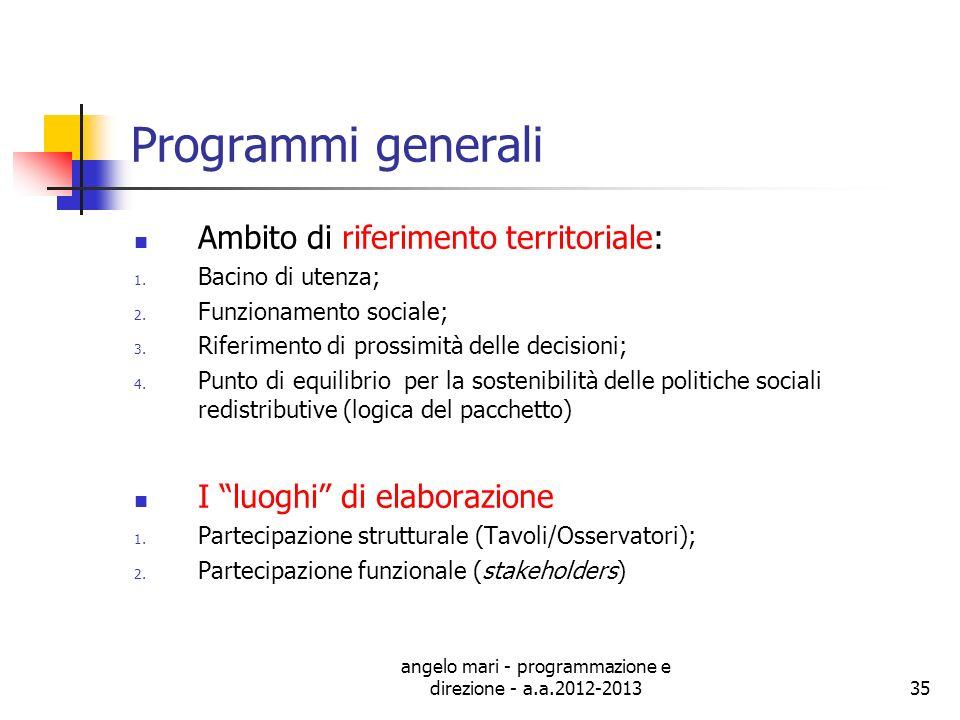 angelo mari - programmazione e direzione - a.a.2012-201335 Programmi generali Ambito di riferimento territoriale: 1. Bacino di utenza; 2. Funzionament