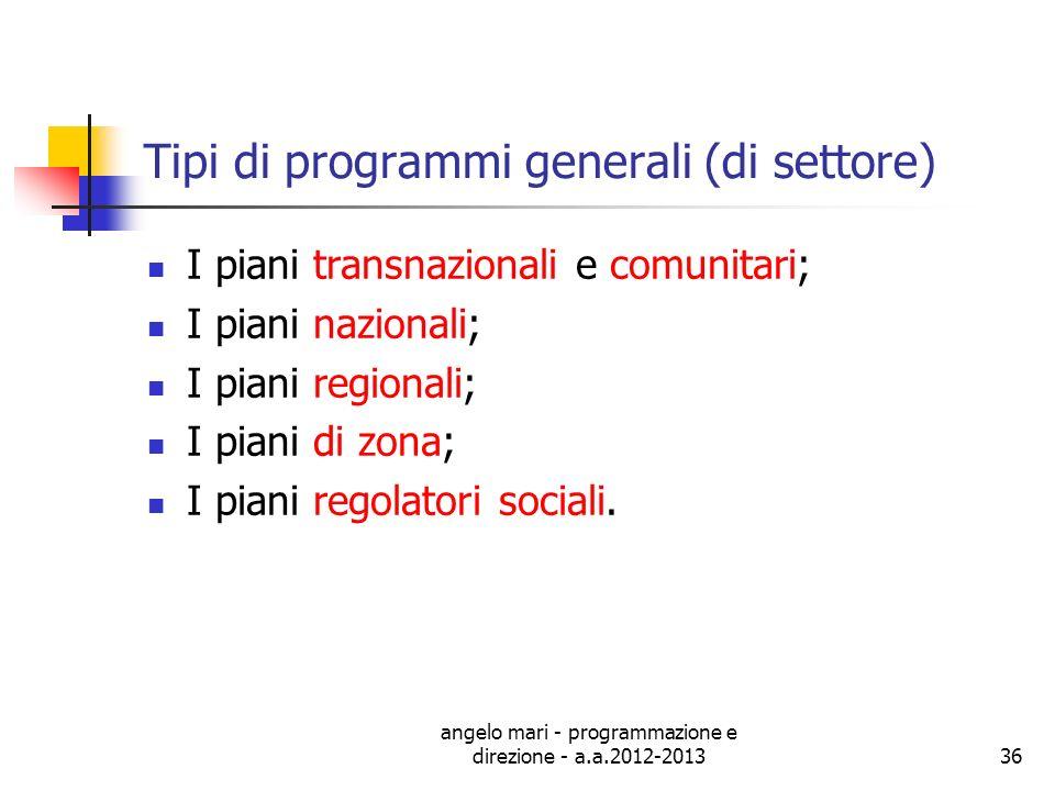 angelo mari - programmazione e direzione - a.a.2012-201336 Tipi di programmi generali (di settore) I piani transnazionali e comunitari; I piani nazion