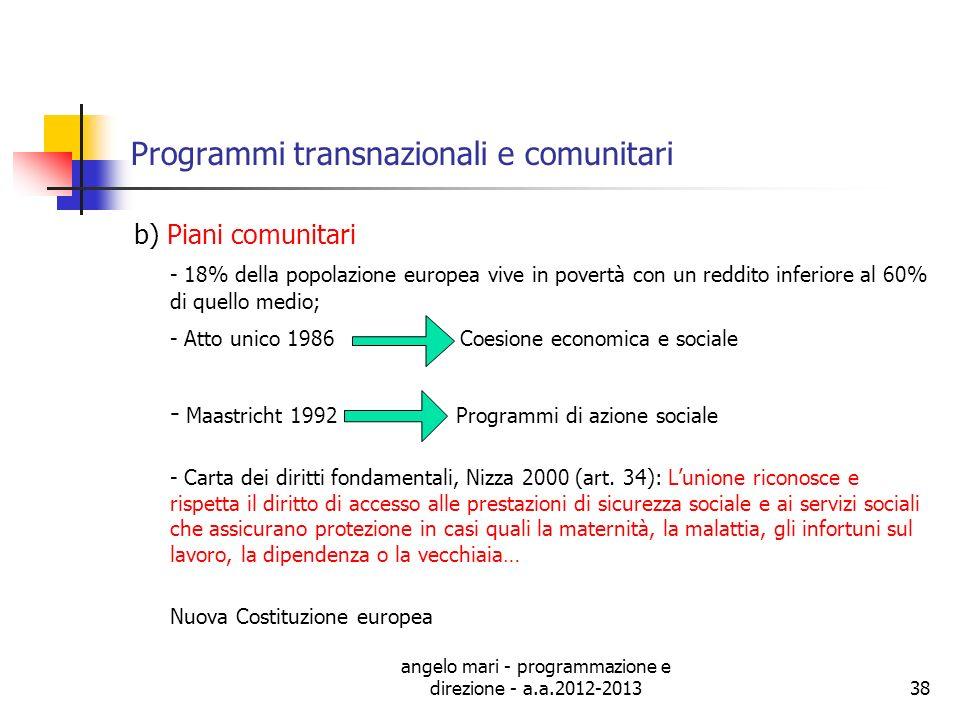 angelo mari - programmazione e direzione - a.a.2012-201338 Programmi transnazionali e comunitari b) Piani comunitari - 18% della popolazione europea v