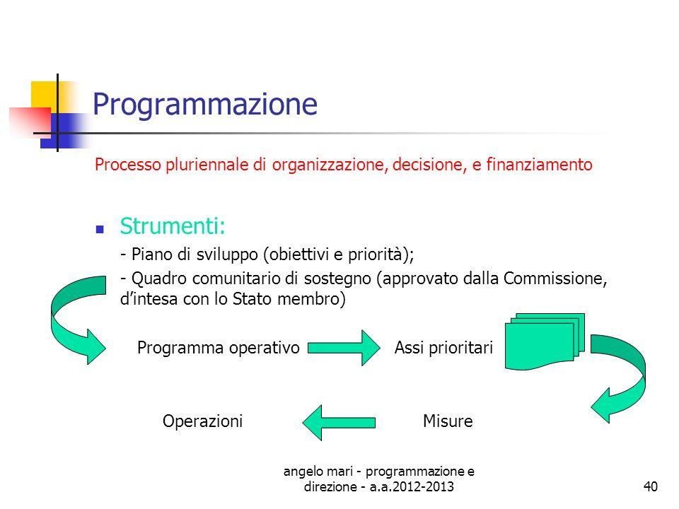 angelo mari - programmazione e direzione - a.a.2012-201340 Programmazione Processo pluriennale di organizzazione, decisione, e finanziamento Strumenti