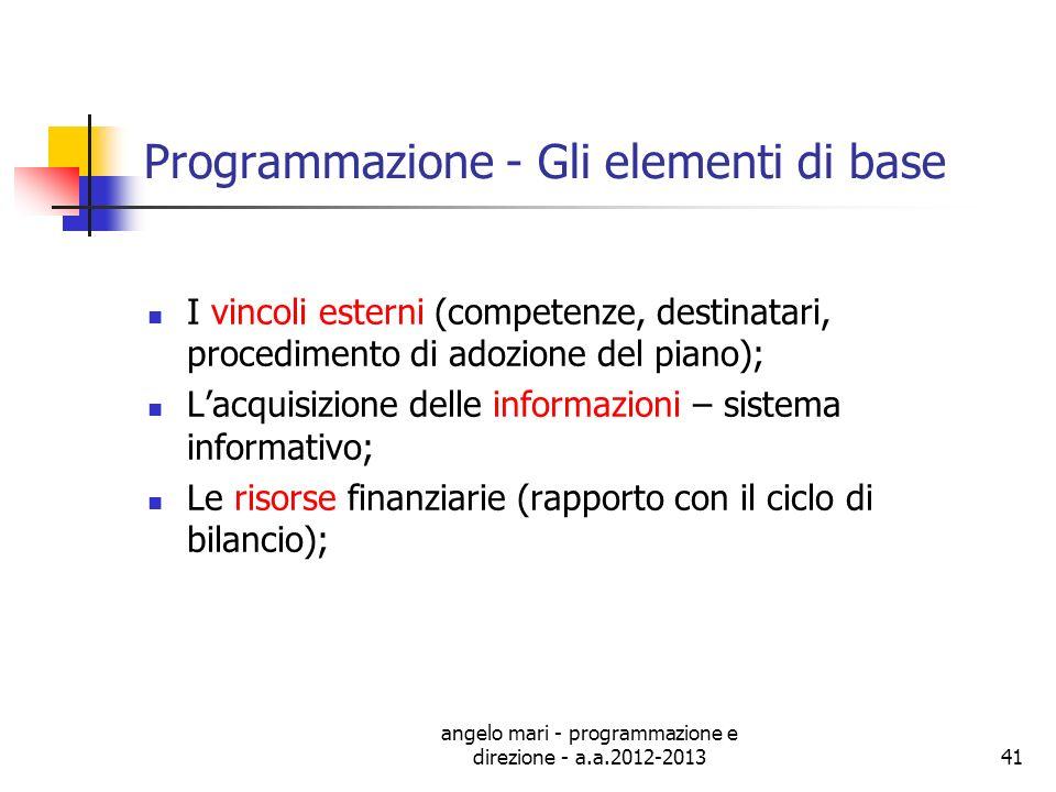 angelo mari - programmazione e direzione - a.a.2012-201341 Programmazione - Gli elementi di base I vincoli esterni (competenze, destinatari, procedime